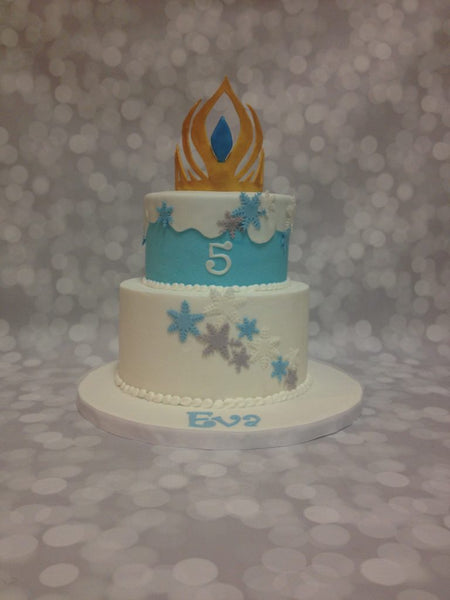 Frozen themed 2-tier birthday cake with 3d topper