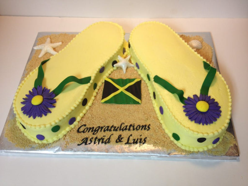 Jamaica yellow carved flip flop cake