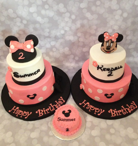 Minnie mouse polka dot 2-tier birthday cakes with 3d toppers