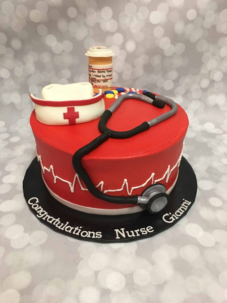 Nurse Themed 1 Tier Graduation Cake with 3D Toppers