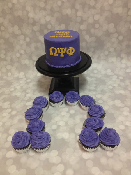 Omega psi phi 1-tier cake with cupcakes
