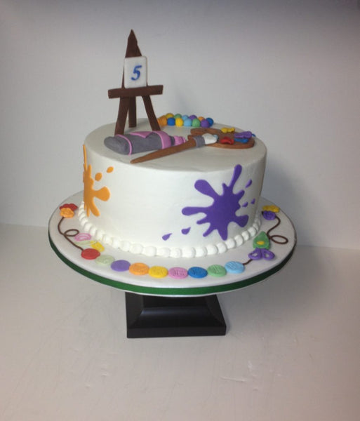 Painting themed 1-tier birthday cake with 3D toppers
