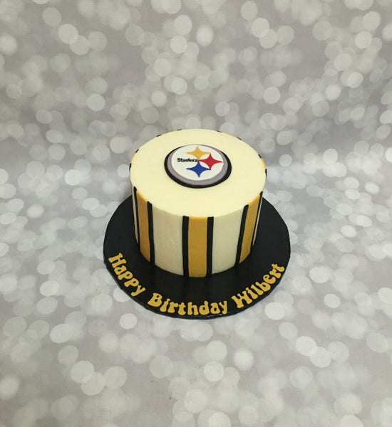 Pittsburgh steelers 1-tier birthday cake with stripes and logo