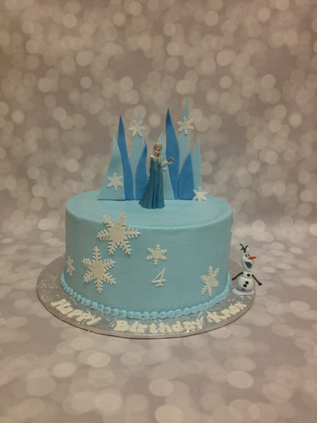 Princess Elsa 1-tier birthday cake with 3D topper