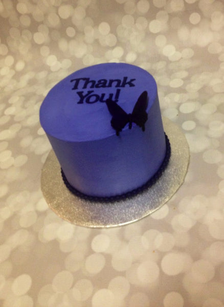 Purple 1-tier thank you cake with butterfly