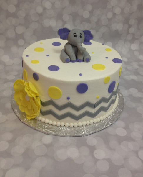 Purple grey and yellow 1-tier baby shower cake with 3D toppers