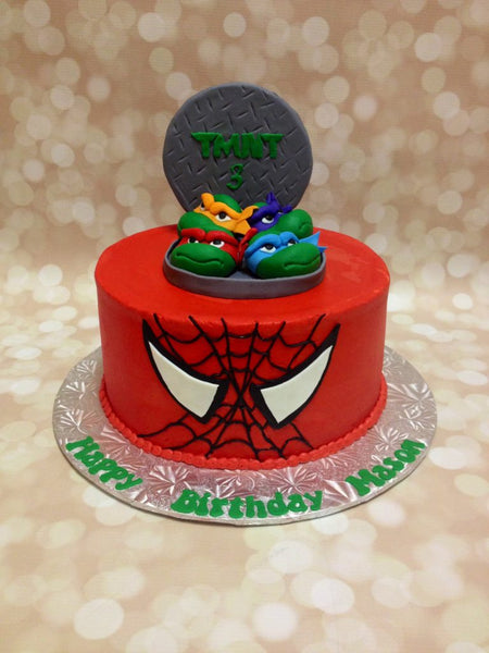 Spiderman and ninja turtles 1-tier birthday cake with 3D characters