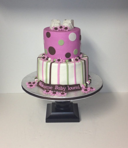 Stripes and polka dots 2-tier baby shower cake