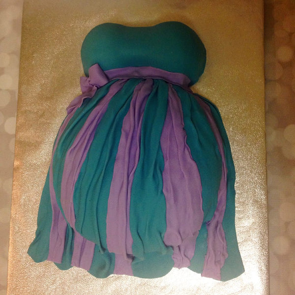 Teal and purple pregnant belly cake