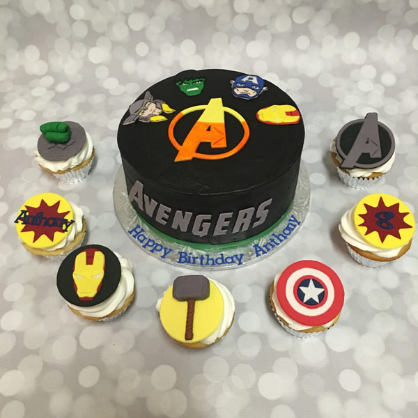 Avengers 1-tier birthday cake with cupcake toppers