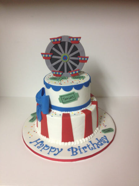 Carnival themed 2-tier birthday cake with 3D topper