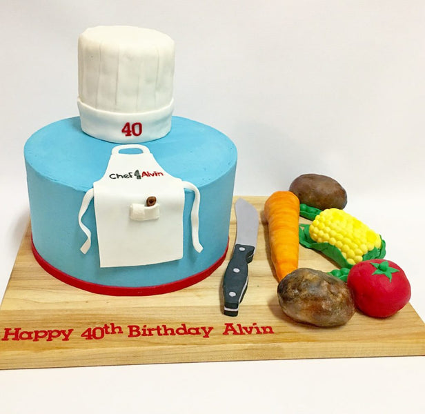Chef themed 1-tier birthday cake with 3D vegetables and chef hat toppers