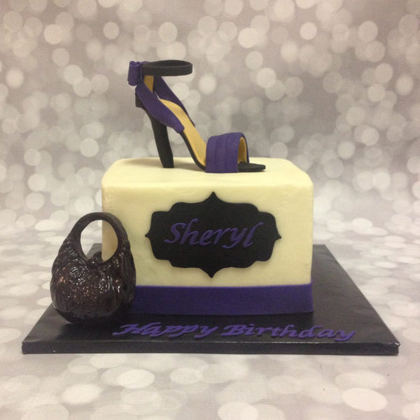 Fashion-themed 1-tier cake with 3D purse and shoe toppers