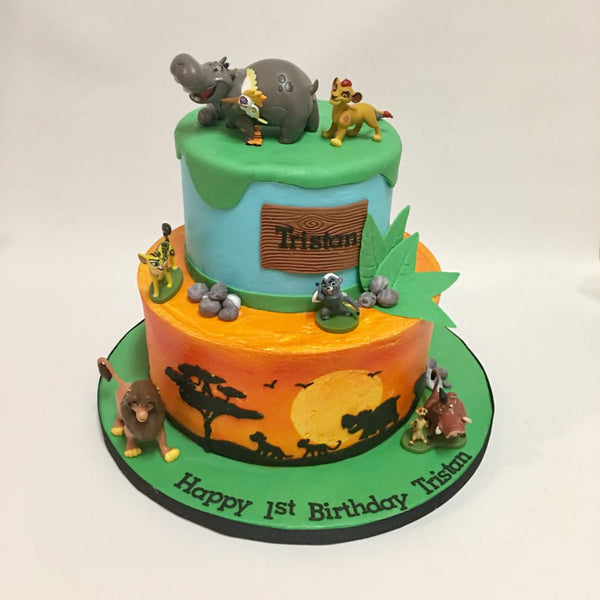 Lion King 2-tier cake with 3D characters