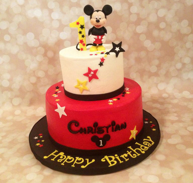 Mickie mouse 2-tier birthday cake with 3D topper