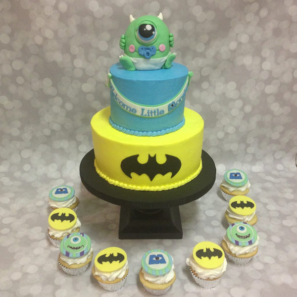 Monsters Inc and Batman themed 2-tier baby shower cake