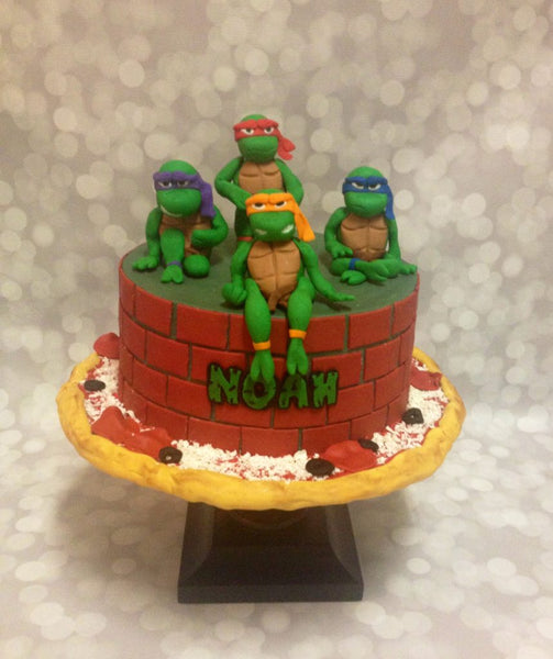 Ninja turtles 1-tier birthday cake with 3D characters