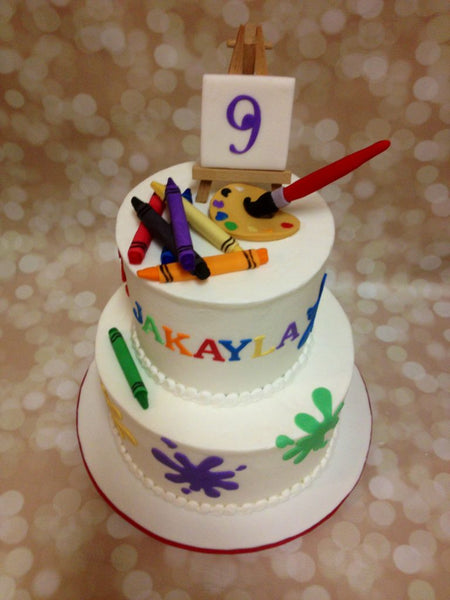 Paint and crayons 2-tier birthday cake