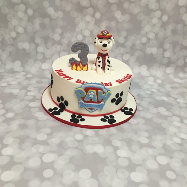 Paw patrol 1-tier birthday cake with 3D characters