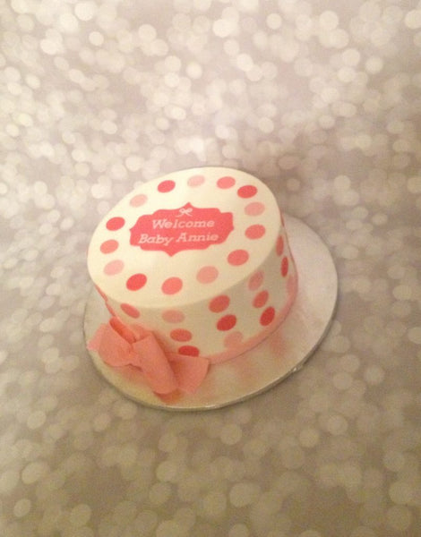 Pink polka dot 1-tier baby shower cake