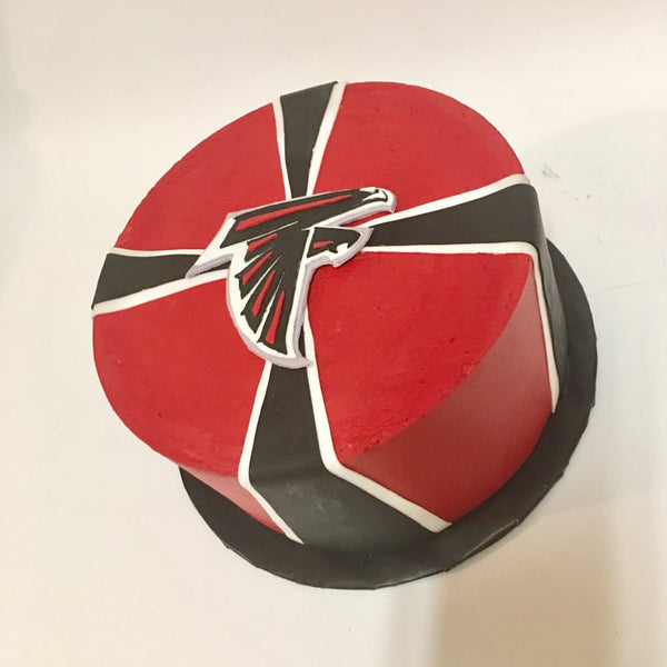 Red and black Atlanta Falcons 1-tier cake with logo