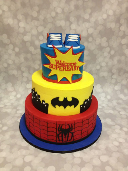 Superbaby, Batman and Spiderman 3-tier baby shower cake