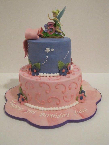 Tinker bell purple and pink 2-tier birthday cake