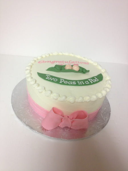 Two peas in a pod 1-tier baby shower cake