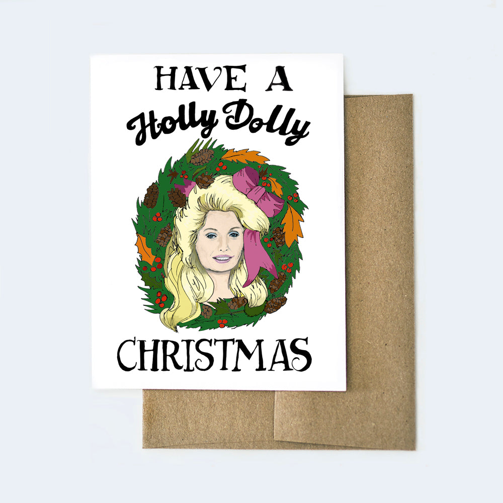Holly Dolly Christmas Card
