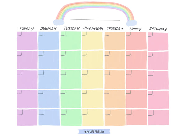 Rainbow Monthly Calendar Download