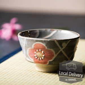 Matcha Bowl Shino Flowers