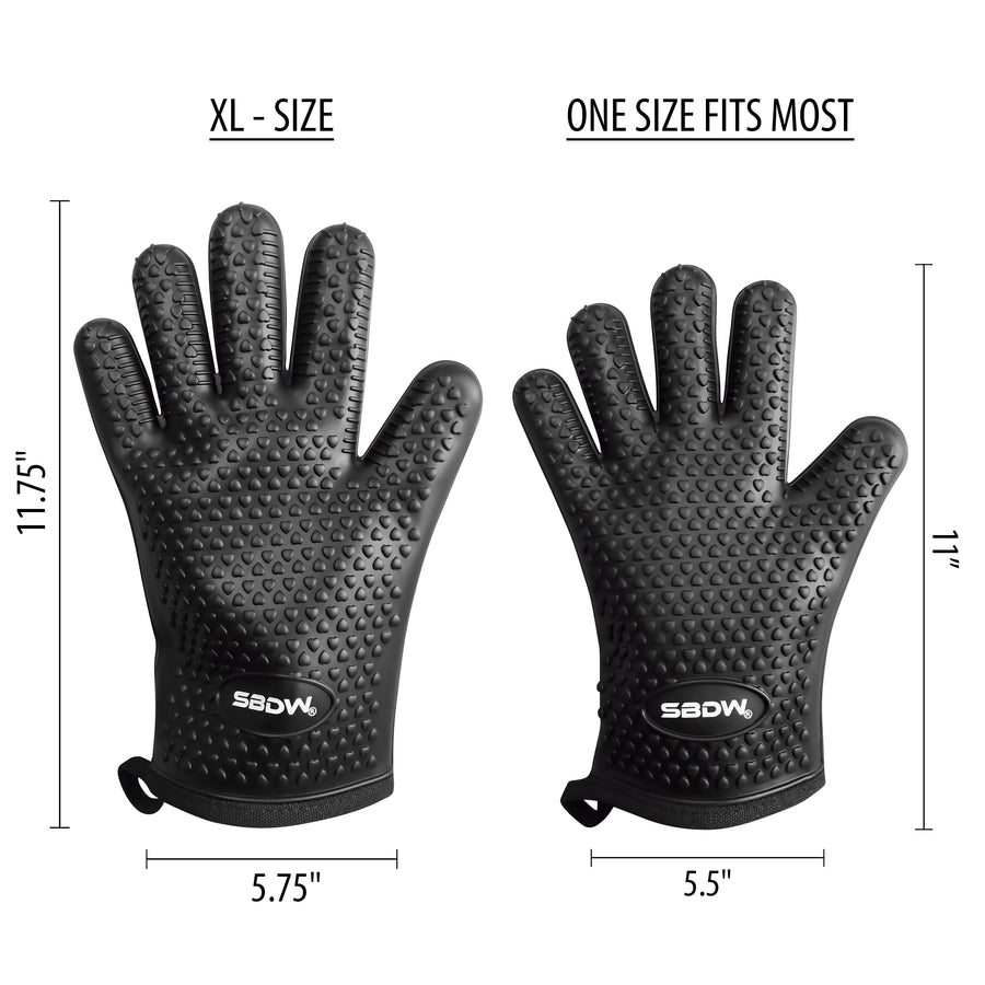 (XL-SIZE) Heat Resistant BBQ Cooking Gloves + Grill Brush & eBook
