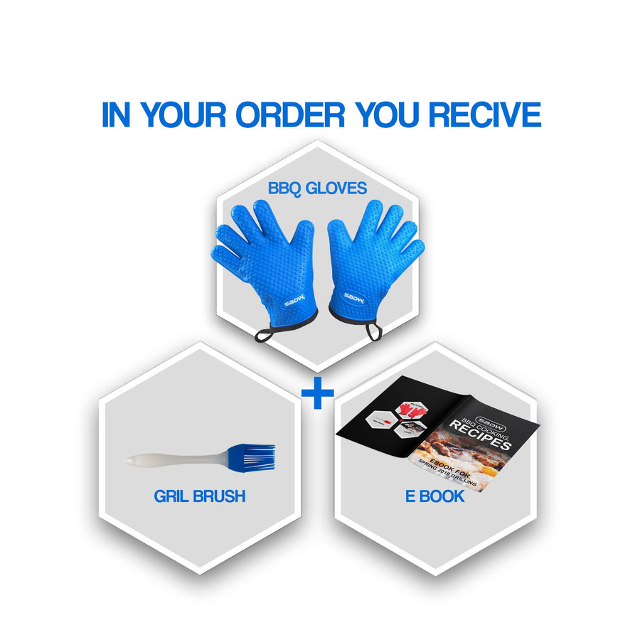 Heat Resistant BBQ Cooking Gloves - Plus Grill Brush & eBook