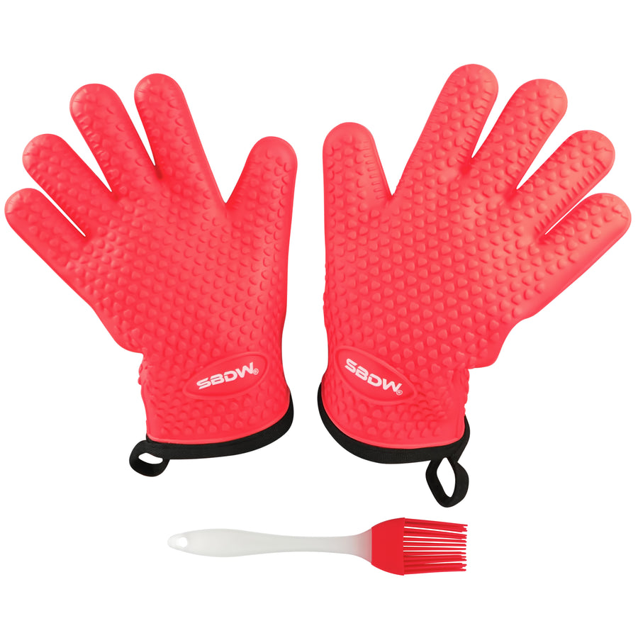 Heat Resistant BBQ Cooking Gloves (Red) - Plus Grill Brush & eBook