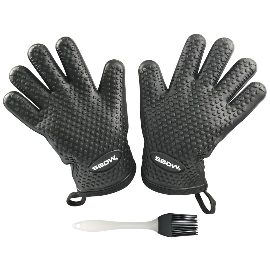 Heat Resistant BBQ Cooking Gloves (Black) - Plus Grill Brush & eBook