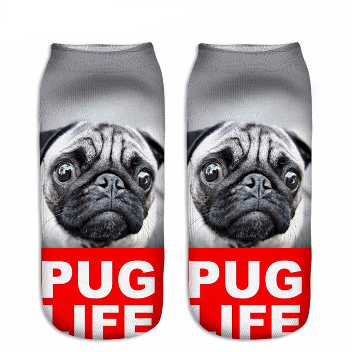 NEW 3D Printed  Pug Low Cut Ankle Socks Multiple Colors
