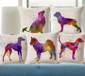 Cute Colorful Dog Printed Linen Cotton Cushion Covers