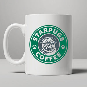 Star Pugs Novelty Ceramic Coffee Mug. Excellent Gift Idea.