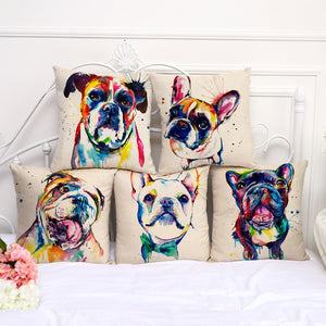 Colorful and Fun Pug, French Bulldog, Boxer, Bulldog, Printed Linen Cushion Covers