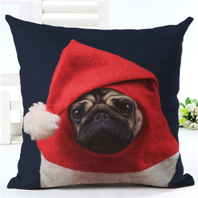 2017 Hot Selling, Cute Hat Wearing Pug, Decorative Cotton Linen Cushion Covers