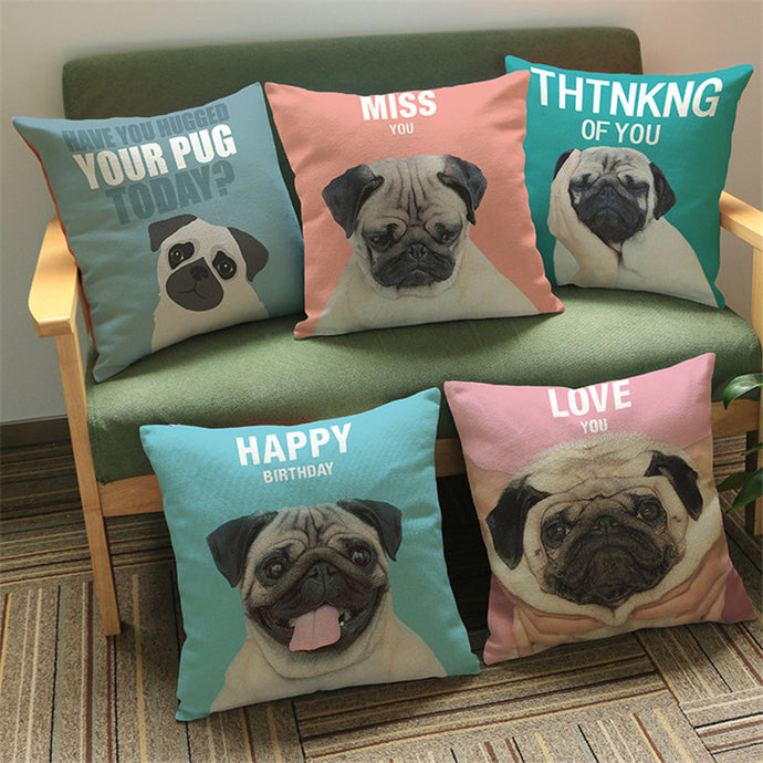 Special Message Cute Pug Cartoon Cushion Covers. Great Gift Ideas.