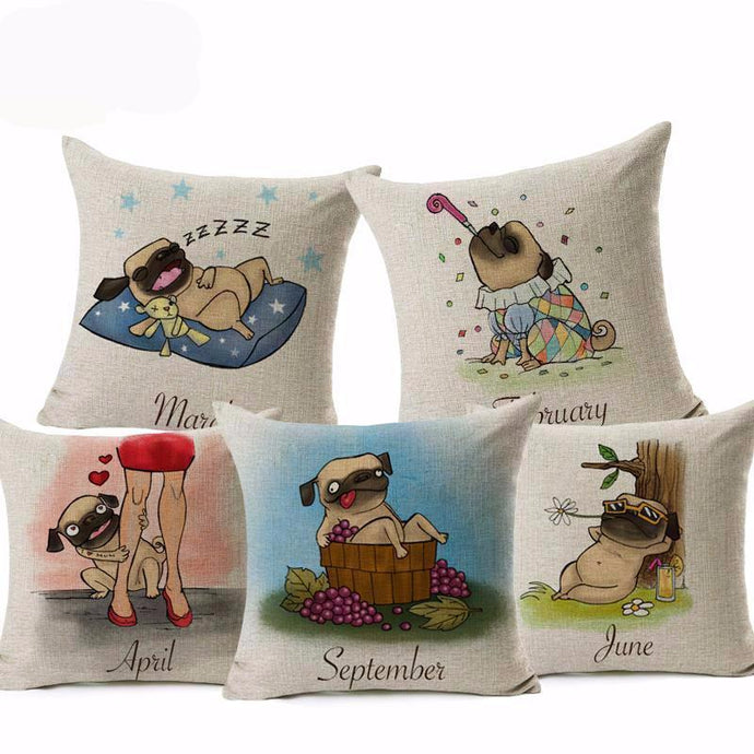 Funny Pug Calendar, Birthday, Cushion Cover Collection