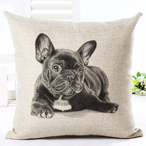 Home Deco Cute French Bulldog Linen Printed Cushion Covers. 4 Designs.