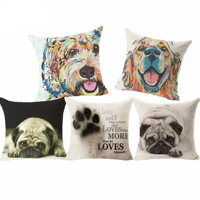 Colorful and Fun Pug, Cockapoo, Labrador Dog Printed Linen Cushion Covers