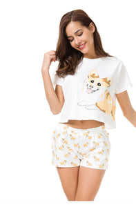 Women's Corgi Pajamas Crop Top + Shorts Set