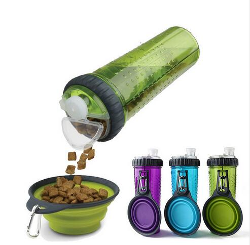 Portable Dog Feeder with Silicone Collapsible Travel Bowl Dish for Outdoor & Travel