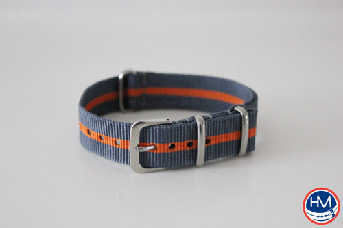 Bracelet NATO bicolore gris et orange
