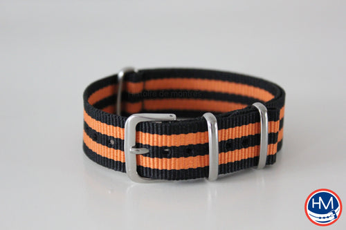 Bracelet NATO bicolore orange et noir