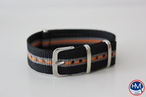 Bracelet NATO tricolore noir, gris, orange