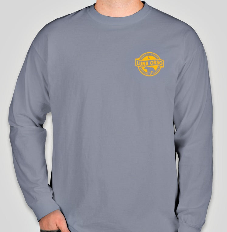 Luna Orso Comfort Colors Long Sleeve T-Shirt Blue Jean/Gold Back